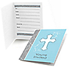 Little Miracle Boy Blue & Gray Cross - Fill in Party Invitations - 8 ct