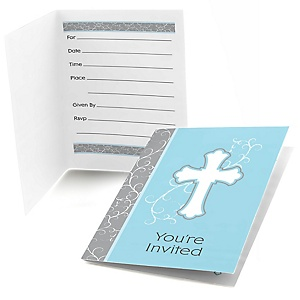 Little Miracle Boy Blue & Gray Cross - Fill In Baby Shower Invitations - Set of  8
