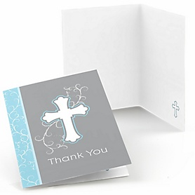 Little Miracle Boy Blue & Gray Cross - Party Thank You Cards - 8 ct