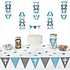 Little Miracle Boy Blue & Gray Cross -  Triangle Party Decoration Kit - 72 Piece