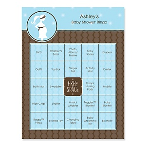 Mommy Silhouette It's A Boy - Bingo Personalized Baby Shower Games - 16 Count
