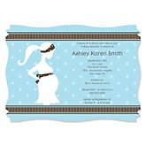 Mommy-To-Be Silhouette – It's A Boy - Personalized Baby Shower Invitations