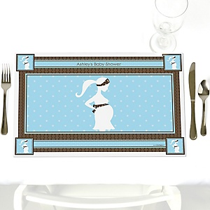 Mommy-To-Be Silhouette – It's A Boy - Personalized Baby Shower Placemats