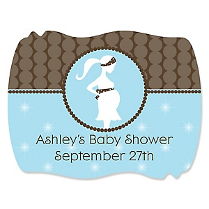 Mommy-To-Be Silhouette – It's A Boy - Personalized Baby Shower Squiggle Stickers - 16 ct