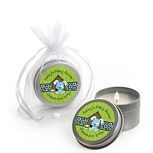 Boy Puppy Dog - Personalized Baby Shower Candle Tin Favors - Set of 12