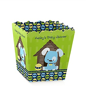 Boy Puppy Dog - Party Mini Favor Boxes - Personalized Baby Shower Treat Candy Boxes - Set of 12