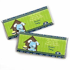 Boy Puppy Dog - Personalized Candy Bar Wrapper Baby Shower or Birthday Party Favors - Set of 24