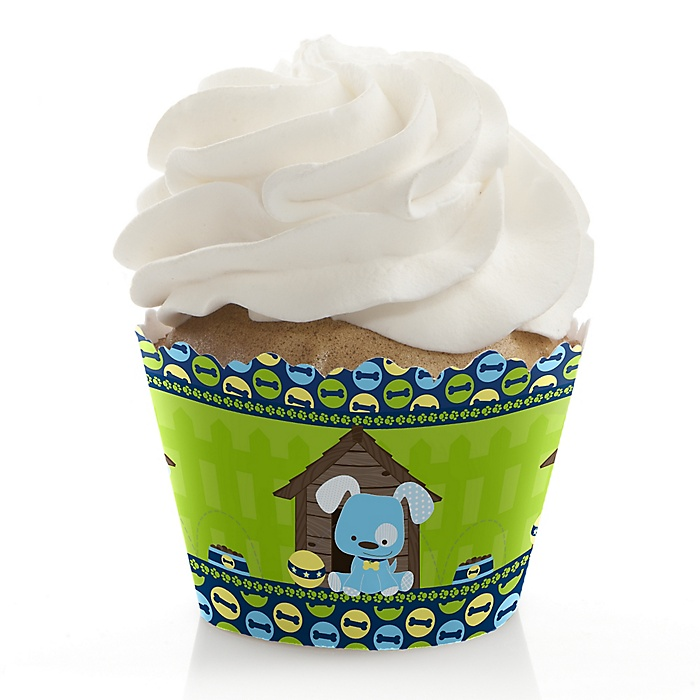 Boy Puppy Dog - Baby Shower Decorations - Party Cupcake Wrappers - Set of 12