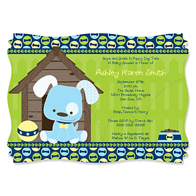 Boy puppy dog personalized baby shower invitations set of 12 boy puppy dog personalized baby shower invitations set of 12 bigdotofhappiness filmwisefo