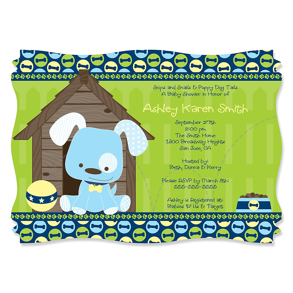 Boy puppy dog personalized baby shower invitations boy puppy dog personalized baby shower invitations filmwisefo