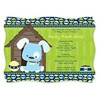 Custom baby shower invitations bigdotofhappiness boy puppy dog personalized baby shower invitations set of 12 filmwisefo