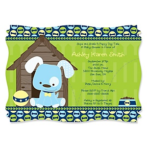 Boy Puppy Dog - Personalized Baby Shower Invitations - Set of 12