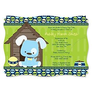 Boy Puppy Dog - Personalized Baby Shower Invitations