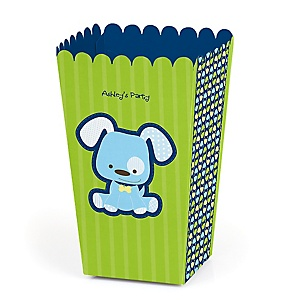 Boy Puppy Dog - Personalized Party Popcorn Favor Treat Boxes - Set of 12