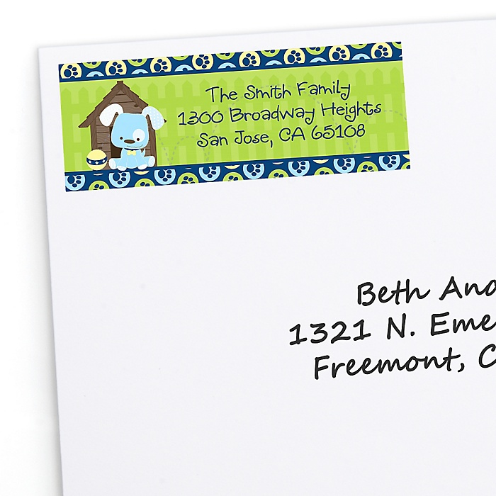 Boy Puppy Dog - Personalized Birthday Party Return Address Labels - 30 ct