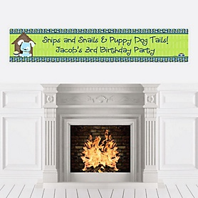 Boy Puppy Dog - Personalized Birthday Party Banners
