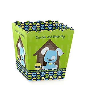 Boy Puppy Dog - Party Mini Favor Boxes - Personalized Birthday Party Treat Candy Boxes - Set of 12
