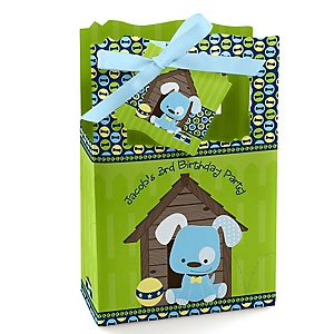 Boy Puppy Dog - Personalized Birthday Party Favor Boxes - Set of 12