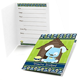 Boy Puppy Dog - Birthday Party Fill In Invitations - 8 ct