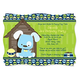 Boy Puppy Dog - Personalized Birthday Party Invitations - Set of 12