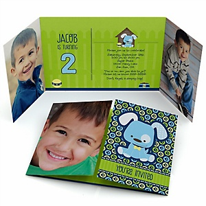 Boy Puppy Dog - Personalized Birthday Party Photo Invitations - Set of 12