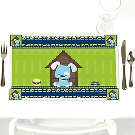Boy Puppy Dog - Party Table Decorations - Baby Shower or Birthday Party Placemats - Set of 12
