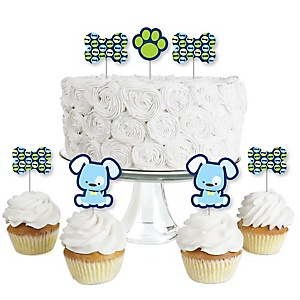 Boy Puppy Dog - Dessert Cupcake Toppers - Baby Shower or Birthday Party Clear Treat Picks - Set of 24