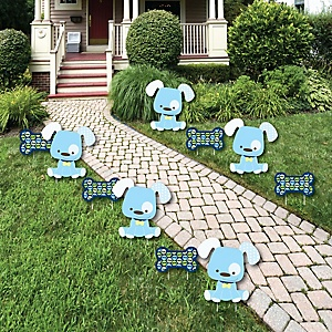 Boy Puppy Dog - Lawn Decorations - Outdoor Baby Shower or Birthday Party Yard Decorations - 10 Piece
