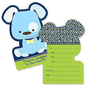 Boy puppy dog baby shower theme bigdotofhappiness boy puppy dog shaped fill in invitations baby shower or birthday party invitation cards with envelopes set of 12 filmwisefo