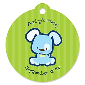 Boy Puppy Dog - Round Personalized Party Tags - 20 ct