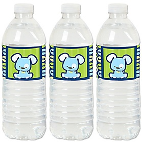 Boy Puppy Dog - Baby Shower or Birthday Party Water Bottle Sticker Labels - Set of 20
