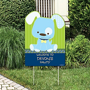 Boy Puppy Dog - Party Decorations - Birthday Party or Baby Shower Personalized Welcome Yard Sign