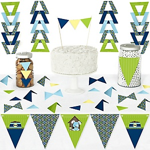 Boy Puppy Dog - DIY Pennant Banner Decorations - Baby Shower or Birthday Party Triangle Kit - 99 Pieces