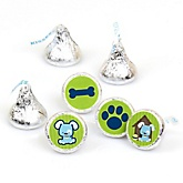 Boy Puppy Dog - Party Favors Round Baby Shower Candy Labels - Fits Hershey's Kisses - 108 ct