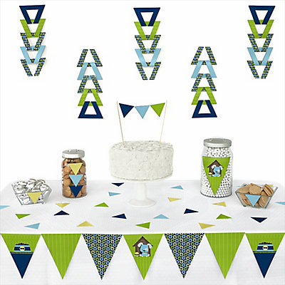 Boy puppy dog 72 piece triangle party decoration kit for Baby boy shower decoration kits