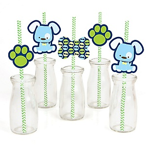 Boy Puppy Dog - Paper Straw Decor - Baby Shower or Birthday Party Striped Decorative Straws - Set of 24