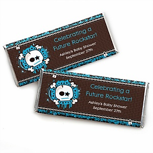 Skullitude™ - Baby Boy Skull - Personalized Baby Shower Candy Bar Wrapper Favors