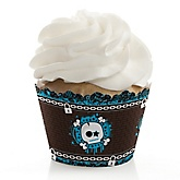 Skullitude™ - Baby Boy Skull - Baby Shower Cupcake Wrappers & Decorations