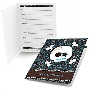 Skullitude™ - Baby Boy Skull - Baby Shower Fill In Invitations - 8 ct