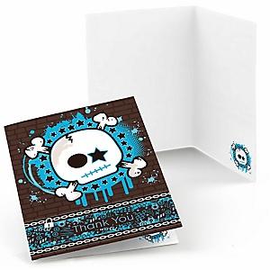 Skullitude™ - Baby Boy Skull - Baby Shower Thank You Cards - 8 ct