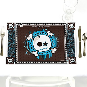 Skullitude™ - Baby Boy Skull - Personalized Baby Shower Placemats