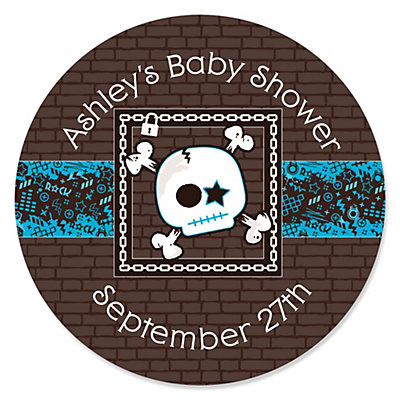 Skullitude baby boy skull personalized baby shower sticker labels 24 ct bigdotofhappiness com