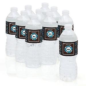 Skullitude™ - Boy Skull - Personalized Party Water Bottle Sticker Labels - Set of 10