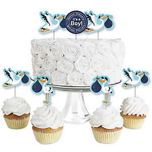 Boy Special Delivery - Dessert Cupcake Toppers - It's A Girl Stork Baby Shower Clear Treat Picks - Set of 24