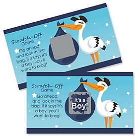 Boy Special Delivery - Blue Stork Baby Shower Game Scratch Off Cards - 22 ct