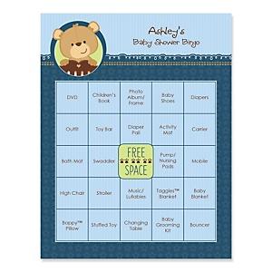 Baby Boy Teddy Bear - Bingo Personalized Baby Shower Games - 16 Count