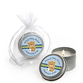 Baby Boy Teddy Bear - Personalized Baby Shower Candle Tin Favors - Set of 12