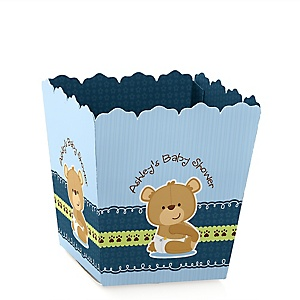 Baby Boy Teddy Bear - Party Mini Favor Boxes - Personalized Baby Shower Treat Candy Boxes - Set of 12