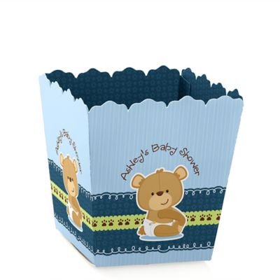 Baby Boy Teddy Bear   Personalized Baby Shower Candy Boxes