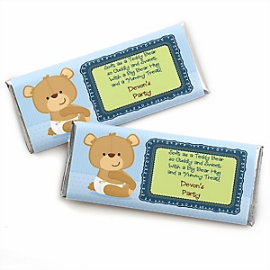 Baby Boy Teddy Bear - Personalized Candy Bar Wrapper Baby Shower Favors - Set of 24
